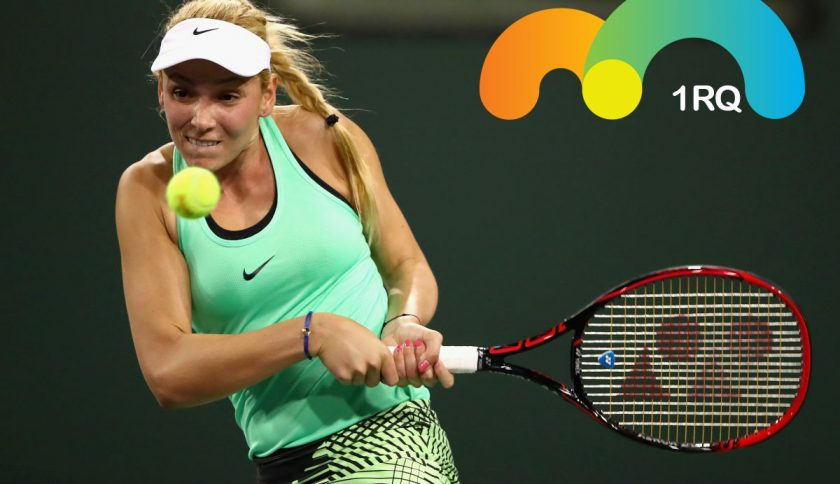 INDIAN WELLS, CA - MARCH 09:  Donna Vekic of Croatia plays a backhand against Alison Riske of the United States in their first round match during day four of the BNP Paribas Open at Indian Wells Tennis Garden on March 9, 2017 in Indian Wells, California.  (Photo by Clive Brunskill/Getty Images)